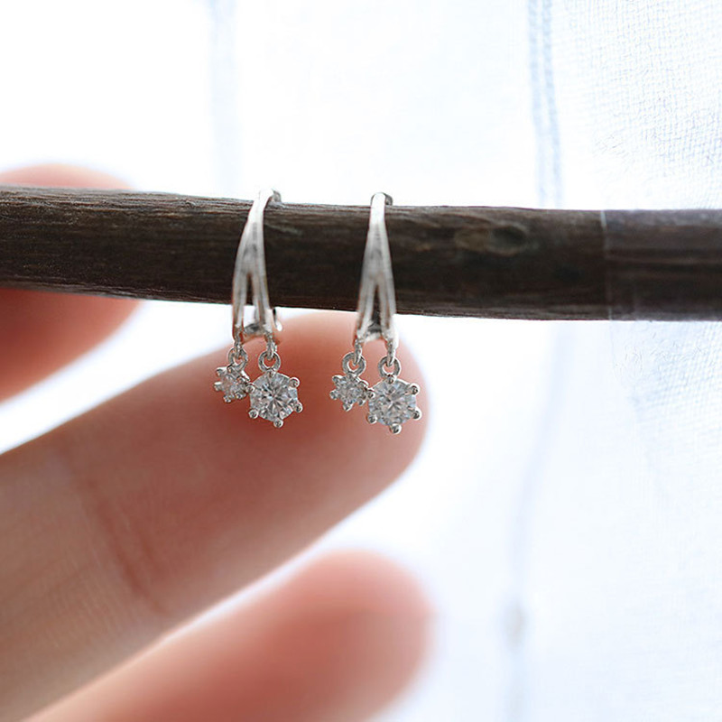 925 Sterling Silver Korean Shiny Crystal Earrings For Women Cute Small Student Jewelry Accessories Girlfriend Gifts