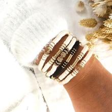6mm Bohemian Vintage Polymer Clay Charm Bracelet For Women Handmade Adjustable Disc Beads Bracelet Femme Jewelry