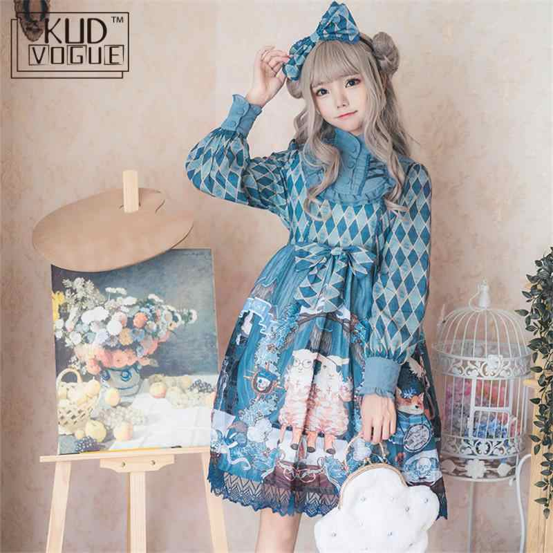 Victorian Lolita Vintage Rabbit Printed Op Lace Trim Dress Women Long Sleeve Dress Palace Party High Waist Bow Princess Dresses