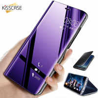KISSCASE Smart Mirror Flip Case For Samsung Galaxy S20 Ultra Plus S9 S10 Note 10 Lite A01 A10 A20 A30 A40 A50 A70 A51 A71 Cover