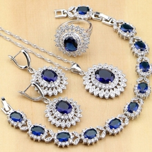 Ensembles de bijoux en Zircon bleu blanc CZ argent 925 ovale, boucles doreilles, pendentif, collier, bagues, Bracelet, pour femmes, livraison directe