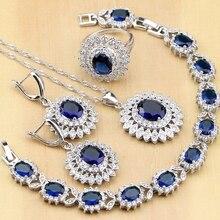 Natur Oval Blau Zirkon CZ Weiß Silber 925 Schmuck Sets Für Frauen Partei Ohrringe/Anhänger/Halskette/Ringe/armband Dropshipping