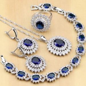 Image 1 - Naturalny owal niebieskie z cyrkonią biały CZ srebro 925 zestawy biżuterii dla kobiet Party kolczyki/wisiorek/naszyjnik/pierścionki/bransoletka Dropshipping