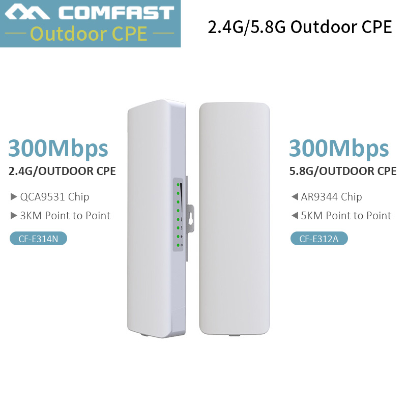 2Pc Comfast point to point Wireless bridge 300Mbps outdoor router 2.4G/5.8 G WIFI Amplifier Network wi fi access point фото