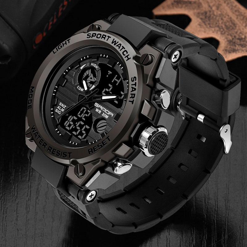 Marka sanda Wrist Watch mężczyźni zegarki wojskowe armii styl sportowy zegarek podwójny wyświetlacz zegarek męski dla mężczyzn zegar wodoodporne godziny 1