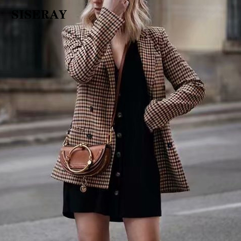 Brand New Chic Double Breasted Checker Blazer Jacket Women Long Sleeve Office Ladies Blazer Autumn Outwear Slim Fit Plaid Blazer