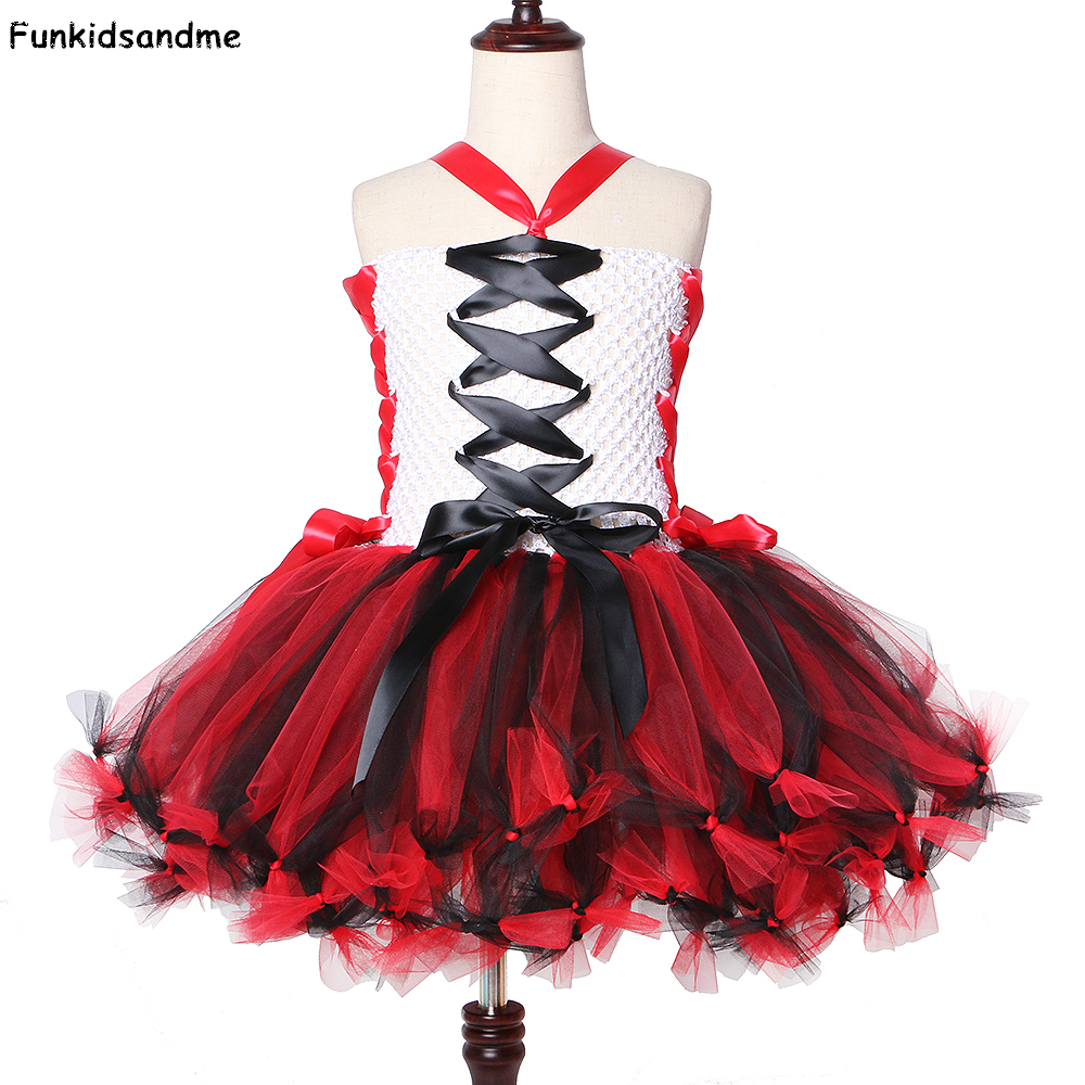 Vampire Zombie Girls Tutu Dress White and Black Red Halloween Costumes for Girls Kids Scary Monster Theme Carnival Party Dresses 1