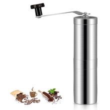 Przenośne ręczne młynki do kawy srebrny ze stali nierdzewnej ręczny młyn ręczny młynek do narzędzi kuchennych ręcznie szlifowane młynki do kawy Burr tanie tanio Ze stopu Aluminium ze stopu Aluminium PORTABLE 20062209184108526
