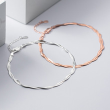 Anklet 925-Sterling-Silver Snake-Chain Foot-Jewelry Women MIQIAO for Fashion Rose-Gold-Color