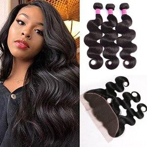Волнистые пряди для тела с фронтальной бразильской пряди человеческих волос с закрытием 13x4 13x6 Пряди для наращивания волос Remy
