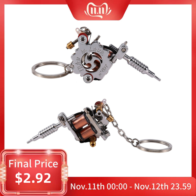 1 PC Portable Mini Tattoo Machine Keychain Tattoo Tools Punk Style Key Holder As Pendant Ornament For Men & Women Gift Crafts