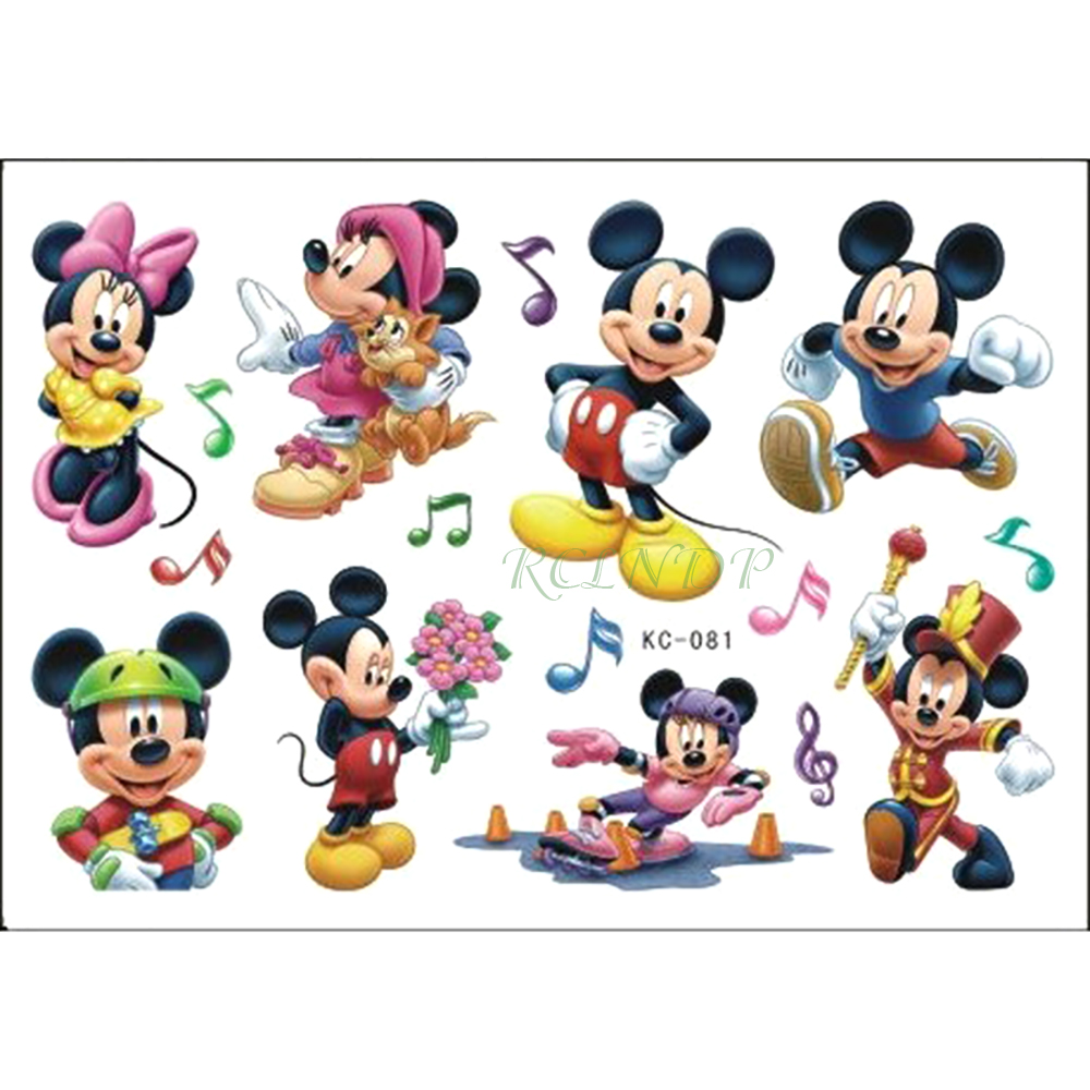 Waterproof Temporary Tattoo Sticker Cute Mickey Mouse KT Cat Cartoon Tatto Flash Tatoo Fake Tattoos For Kids Child Girls