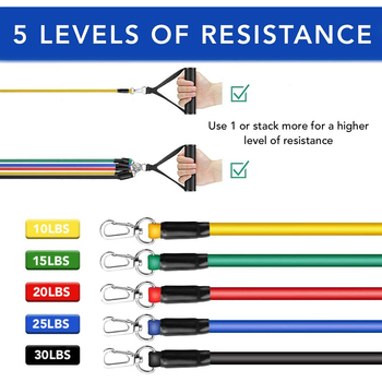 Exercise Resistance Bands Set Up to 115 lbs Fitness Stretch Workout Bands with 5 Fitness Tubes Home Gym Yoga Equipment Men Women 2