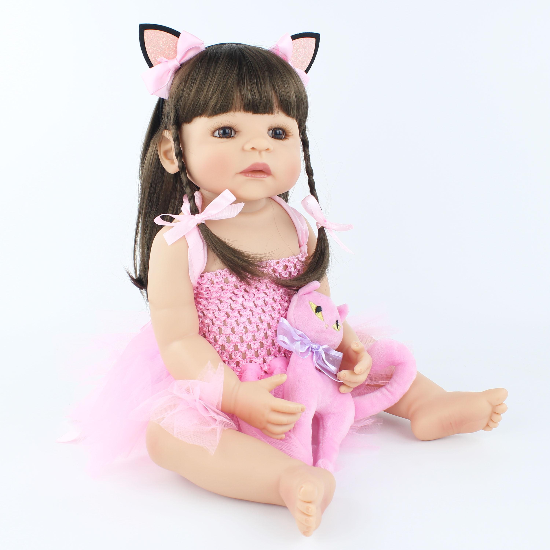 55cm Novo Cheio de Silicone Bebê Reborn Boneca de Brinquedo Para A Menina Princesa Recém-nascidos Da Criança Bebês Bebe Vivo Clássico Boneca Banhar brinquedos de banho com duche
