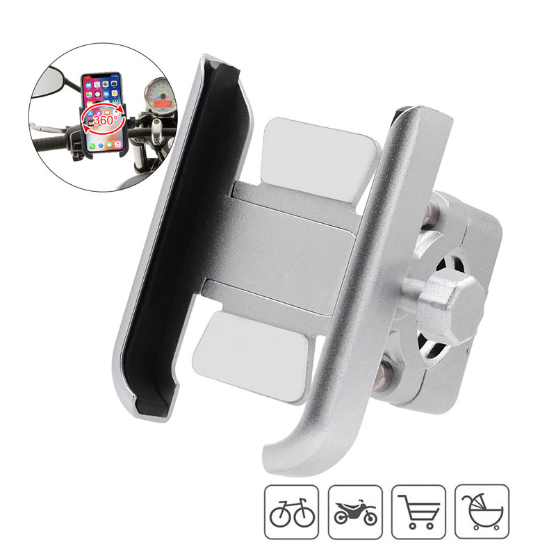 Motorcycle Bike Mobile Phone Holder Aluminum Bicycle Riding Bracket GPS Mount Handlebar Stand Support 3.5-6.5inch Smartphones