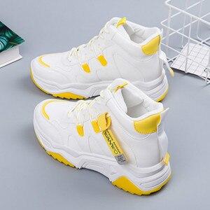 Image 2 - SWYIVY PU Chaussures Femme Chunky trampki dla kobiet obuwie 2020 wiosna wysokie góry kobiety białe buty oddychające buty damskie