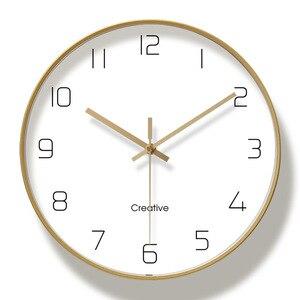 Image 5 - Einfache Kreative Kunst Gold Mode Wanduhr Moderne Home Studie Stumm Uhr Mode Dekorative Quarz Uhr