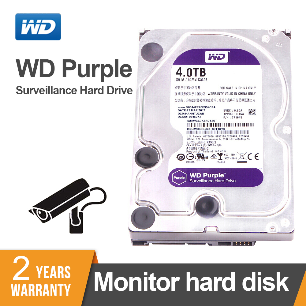 Western Digital WD Surveillance violet 4 to interne HDD SATA 6.0 Gb/s 3.5