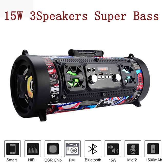 Big Portable Speaker Super Bass Bluetooth Speaker For Computer High Power 15W Subwoofer Music Center Boom Box with USB AUX FM 1