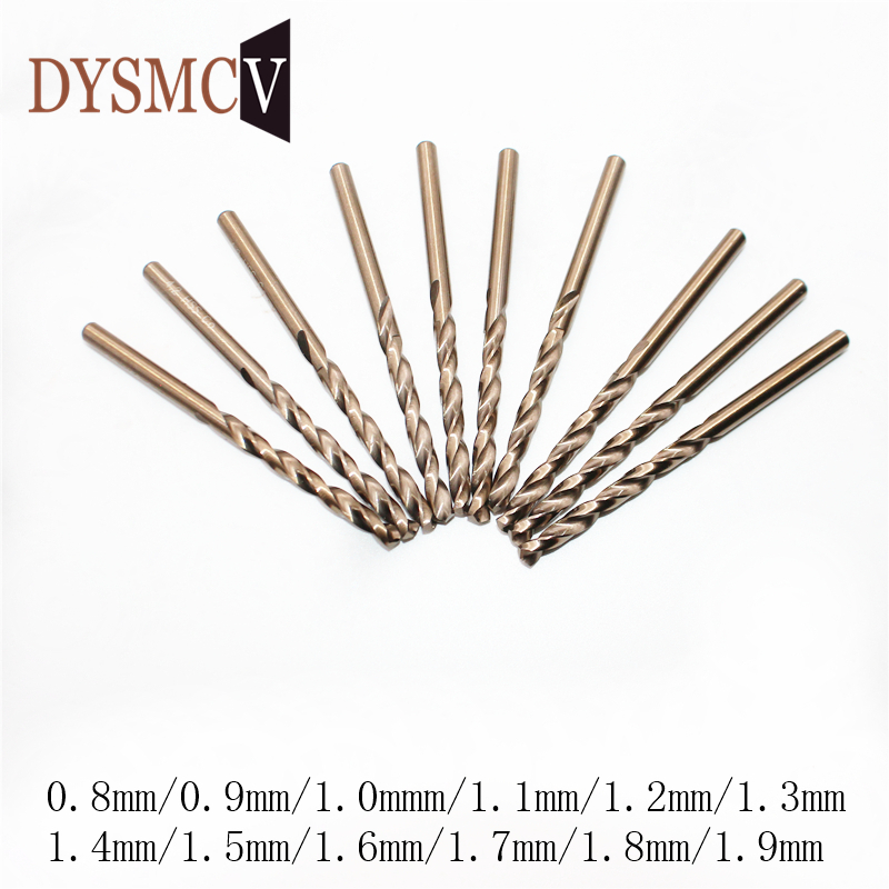 5Pcs 0.8 0.9 1 1.1 1.2 1.3 1.4 1.5 1.6 1.7 1.8 1.9mm HSS-CO M35 Cobalt Steel Straight Shank Twist Drill Bits For Stainless Steel