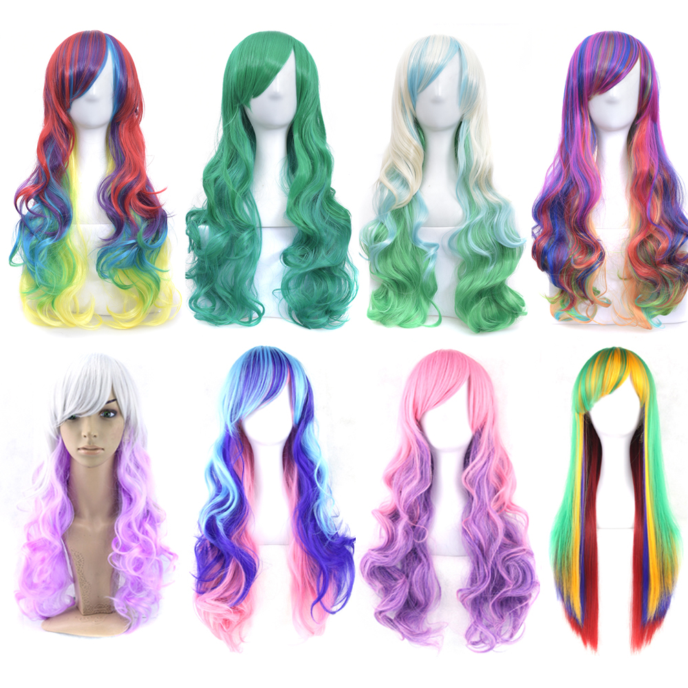 Soowee 70cm Long Curly Synthetic Hair Women's Wig Hairpiece Blue Yellow Pink Rainbow Party False Hair Cosplay Wigs For Women
