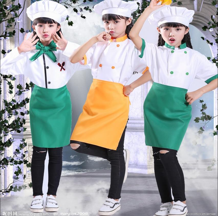 Kindergarten Chef Costume Restaurant Waitress Wear  Colorful Apron  Restaurant  Uniform  Kawaii Kitchen Bakery