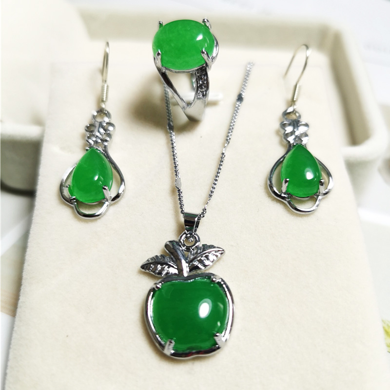 Jadery Women Jewelry Sets 925 Silver Necklace Ring CZ Natural Green Jade Gemstone Earrings Vintage Party Fine Jewelry Gifts 2020