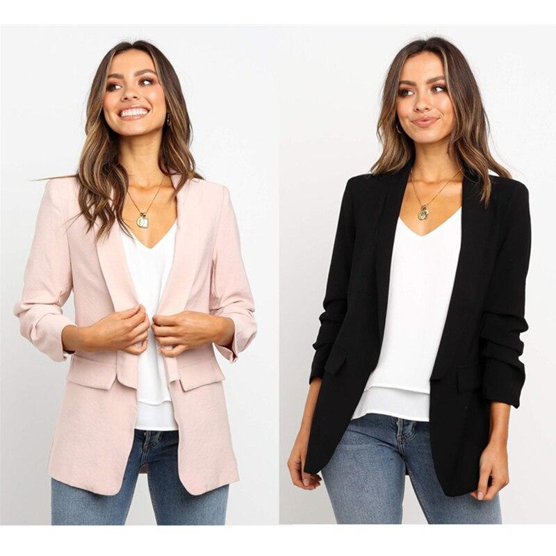 Spring Summer Women Casual Jacket HOT Women Black Slim Single Button Casual Business Jacket