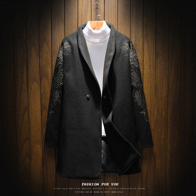Trench Coat Mens Jacket Spring Autumn Men Japan style Embroidery Single button Medium long Coat Male Casual Overcoats