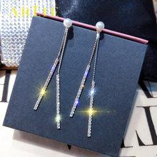 Серьги подвески серебряного цвета с искусственным жемчугом