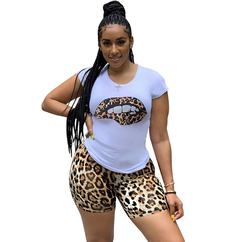 Plus Size Tracksuit Women Two Piece Sets Leopard Lip T-shirt Top And Shorts Sweat Suits Summer Beach Wear Casual 2 Piece Outfits