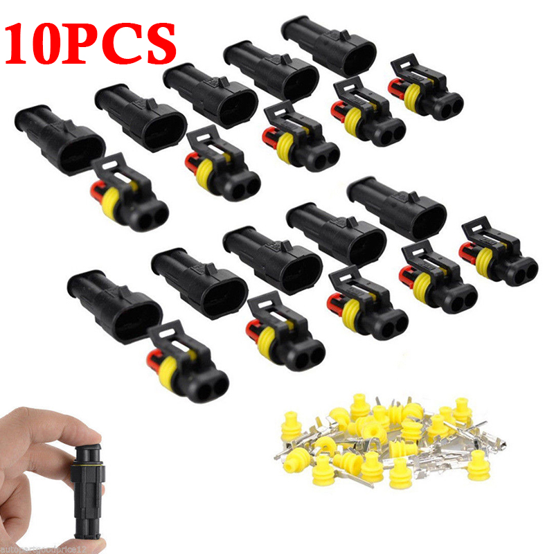 10 Sets Car Auto 2Pin Way Sealed Waterproof Electrical Wire Harness Connector Plug Kit  Electrical Wire Connectors Accessories|Battery Cables & Connectors| |  - title=