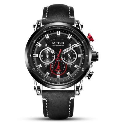 Quartz Men Watches Fashion Genuine Leather Watch Clock MEGIR quartz male watches racing men  Run Chronograph watch