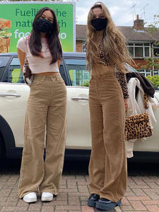 Brown Trousers Baggy-Pants Skater Bold-Shade 90s Indie Streetwear Teenager Girl-Style