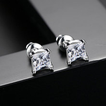 Top Quality White Gold Color Square AAA Cubic Zirconia Stud Earring for Women Wedding Elegant Jewelry new arrival fashion jewelry triangle stud earring gold color aaa cubic zirconia rhinestone earrings for women