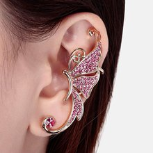 Korean Full Crystal Elves Butterfly Ear Clip Stunning Design Exaggerated Earrings Without Ear Piercing For Women Accessories(China)