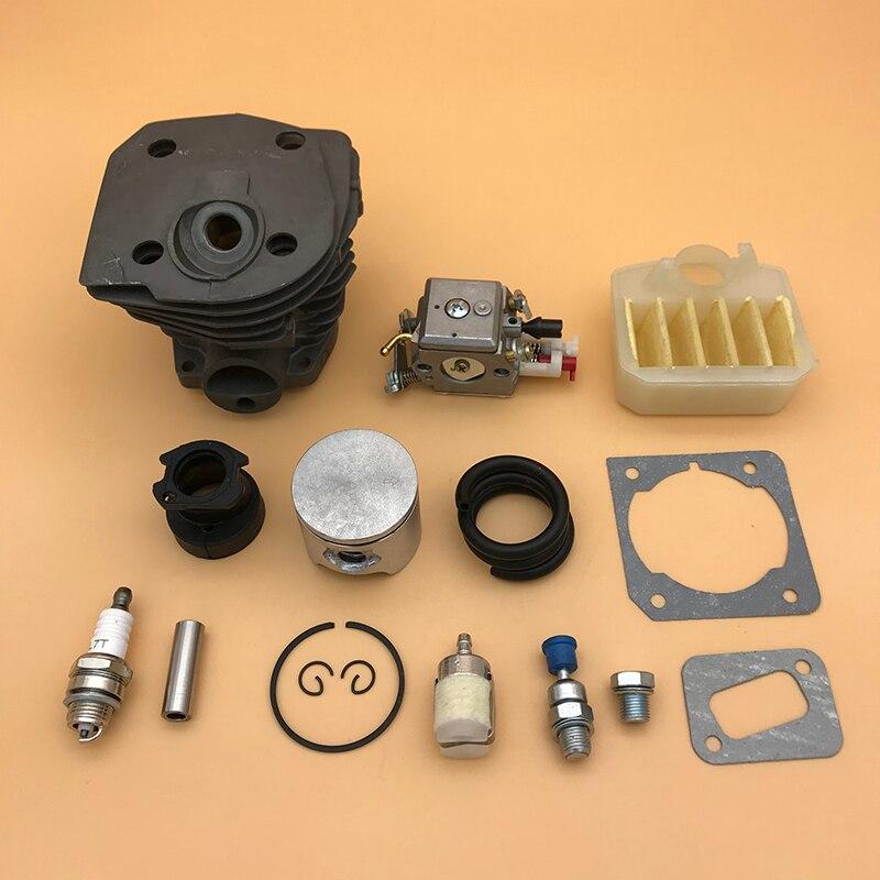 44mm Nikasil Cylinder Piston Air Fikter Carburetor Gasket Kit For HUSQVARNA 350 351 353 346 XP 346XP Chainsaw Engine Motor Parts