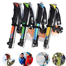 5 Section Foldable Trekking Poles Walking Stick Lightweight Hiking Sticks Aluminum 7075 Telescopic Quick Lock EVA Grip