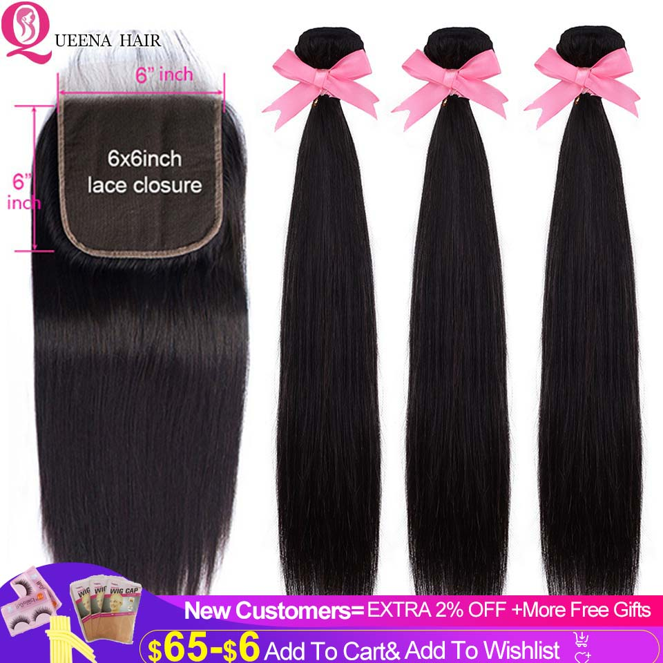 Straight Hair Bundles With 6x6 HD Transparent Lace Closure Pre Plucked Natural Malaysian Human Hair 3 Bundles With Closure Remy