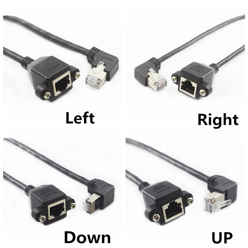 Left Right UP Down Angled 90 Degree 8P8C FTP STP UTP Cat5 RJ45 With Screw Lan Ethernet Network Extension Cable 1ft 60CM 100CM 1M