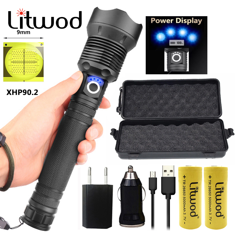 Litwod Z25 1282 CREE XHP90 XHP70 XHP50 Rechargeable Powerful Tactical Led Flashlight Torch Light Lamp Metal Wall Mounted 1287