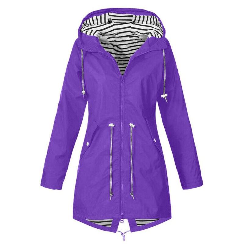 Casual Women Waterproof Raincoat Jackets Ladies Long Sleeve Outdoor Coats Wind Rain Forest Hooded Jacket Coat