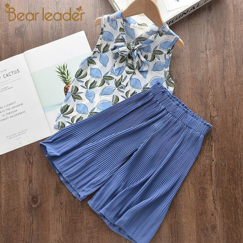 Bear Leader Girls Suit Summer Girls Clothes Colorful Printing Pants 2PCS Suit Kids Christmas Set Casual Kids Chiffon Suit 1