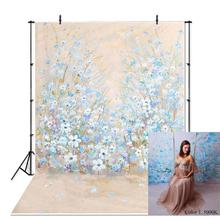 NeoBack Vinyl Brushed Lite Blue Flowers Newborn Baby Photography Studio Backgrounds Maternity Photo Backdrops Photocall Banners