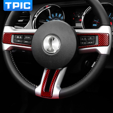 TPIC Car Steering Wheel Button Frame Carbon Fiber Sticker Decorate For Ford Mustang 2009 2013 Auto Interior Accessories RHD LHD