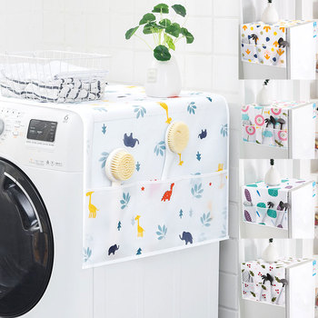 Wydrukowano pokrowiec na pralkę PEVA uniwersalna kieszeń na lodówkę do użytku domowego odporny na kurz pokrowiec na tekstylia domowe ścierka do kurzu tanie i dobre opinie CN (pochodzenie) Poliester bawełna PRINTED Nowoczesne