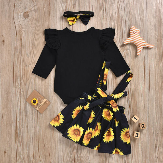 Baby Girl's Sunflower Patterned Clothing Set 6
