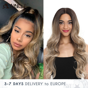 цена на Noble Cosplay Lace Front Wig 30 Inch Lace  Long Wavy 360 0mbre Blonde Wig Red African American Synthetic Wigs For Black Women