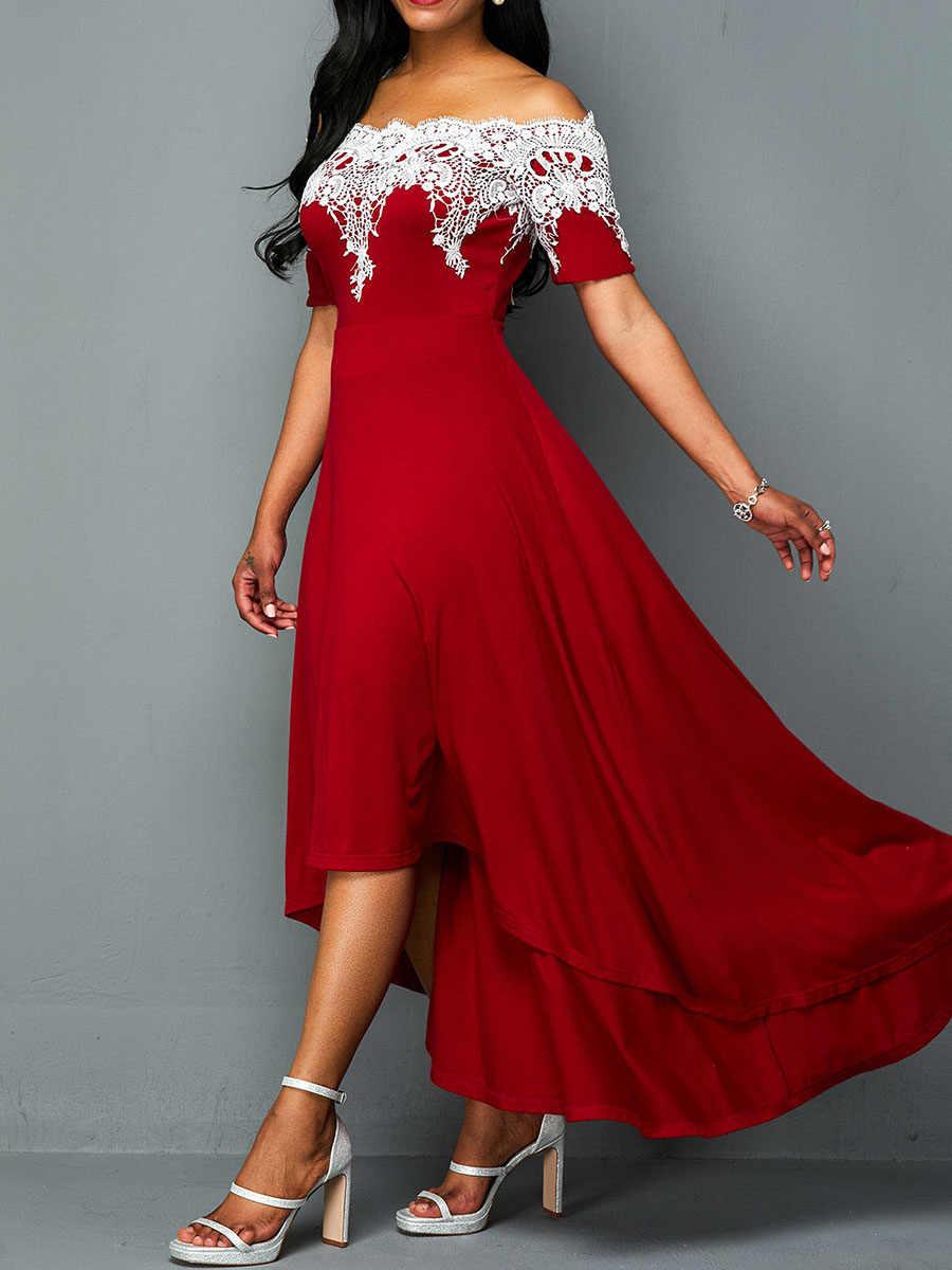 PLUS ขนาดยาวชุด 5XL 2020 แอฟริกัน Slash คอลูกไม้ Line PROM Dresses Robe Femme Vestiods แขนสั้น PARTY