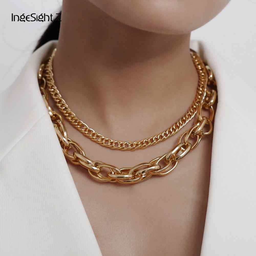IngeSight.Z Gothic Multi Layer Miami Cuban Twisted Short Choker Necklace Punk Hip Hop Chunky Thick Metal Collar Necklace Jewelry